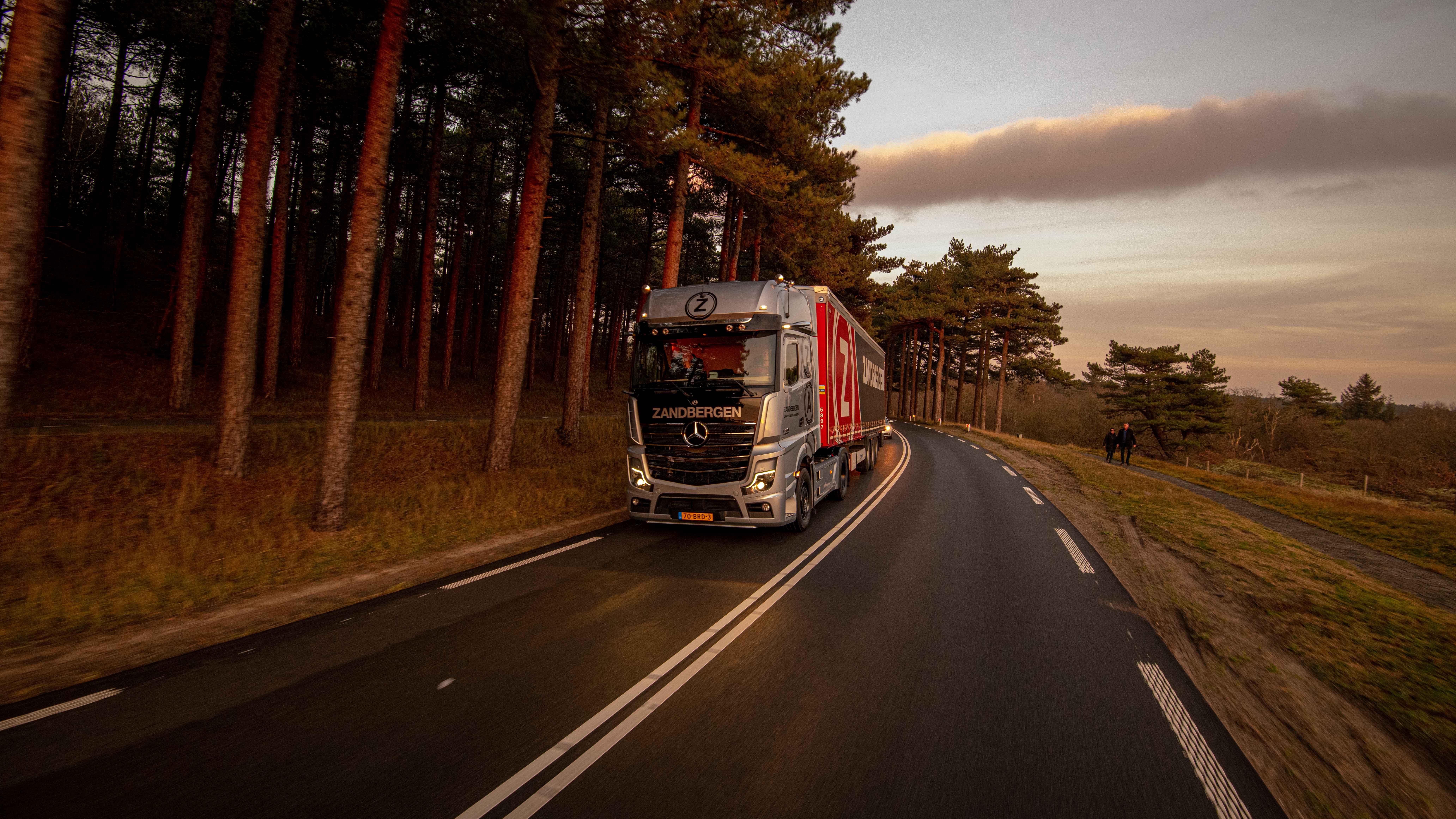 Nummer 175 is de enige niet rode truck bij Zandbergen Transport